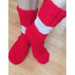 Ponožky červená - proužek světlá