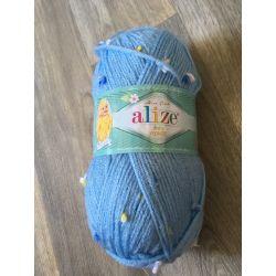 Pletací příze Baby flower - alize modrá