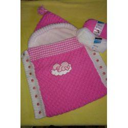 Pletený dětský fusak -  růžová