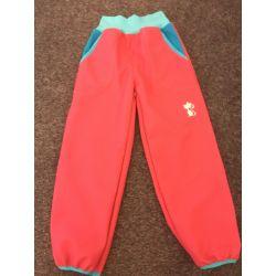 Softshellové kalhoty pro děti - teplé růžovo modrá