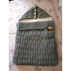 Pletený dětský fusak - šedá - kapuce rozepínací