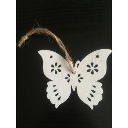 Sova, dřevěná závěsná bílá